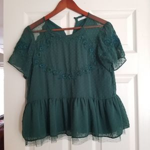 Zara embroidered green blouse size M